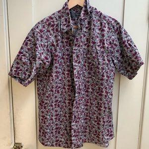 Flower print (Red on White) short sleeve shirt